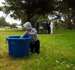 Hayes Rhinehart plays in an ice bin at Sutro Heights Park in San Francisco after his uncle, Alex Rhinehart, weds Tony O'Brian, May 14, 2011. (Photo/Kendra Yost)