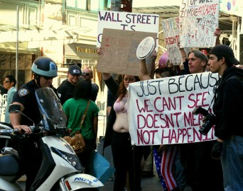 Police block at group of Occupy Wall Street protesters in New York City, Monday, Sept. 19, 2011. (Photo/Kendra Yost)
